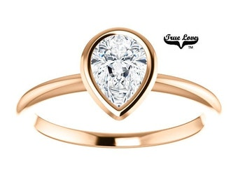 14 kt. Rose Gold Solitaire  Pear Shape .80 Carat Forever Brilliant Cut Moissanite Engagement Ring #7278
