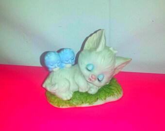 Vintage Lefton China Kitten and Bluebirds,Kitten,Bluebirds,Lefton China,Cat Figurine,Kitschy Kitten,Mid Century,MOD,MCM,Japan,Big Eyes,1950s