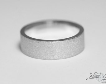 14k Solid White Gold Wedding Band, Matte Wedding Band, Brushed Wedding Band, 7mm, Matte Finish Flat Band