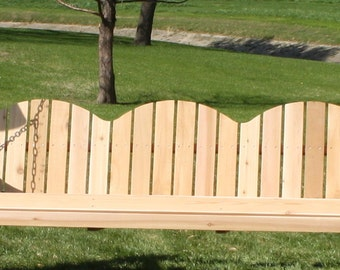 Brand New 6 Foot Cedar Wood Three-Seat Adirondack Porch Swing - with Hanging Rope - Free Shipping