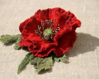 Felted flower brooch,felt brooch,felt brooch flower, felt pin, poppy hand felted brooch red poppy, wet felt flowers