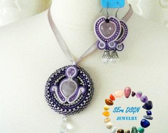 Rose Quartz and purple jewelry set (aubergine-light pink-clear-silver)