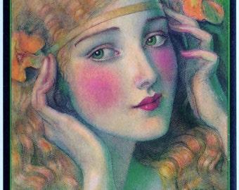 Vintage Hearst International Magazine Cover by WT Benda. Affordable Fine Art Prints Digital Download Benda's Girls from 1920s DIY Gift Ideas