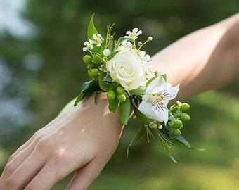 Bridal corsage, bracelet, wedding corsage,faux flower, corsage for mothers, faux flowers, roses,wedding flower