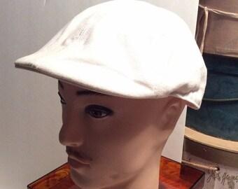 20% OFF SALE Vintage White Cotton Newsboy, Cabbie, Driving Hat/Cap