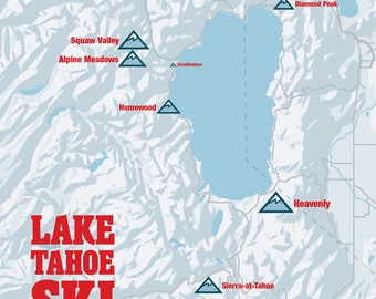 Lake Tahoe Ski Resorts Map 11x14 Print