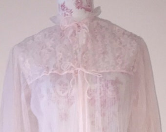Sheer vintage pink rose nightgown. Size FREE.