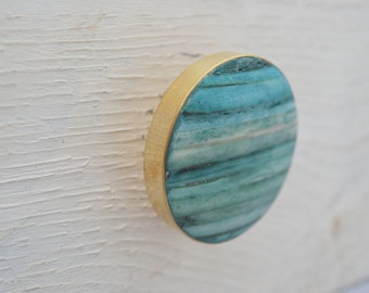Gold Drawer Knobs with Teal Stone Inlay, Gold Drawer Pulls, Cabinet Knobs, Antique/Vintage Style, Teal Knobs, Gold Knobs, Turquoise