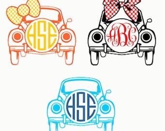 Monogram   VW BUG   Vinyl Decal   Personalized   Custom Sticker   Yeti Decal   Summer