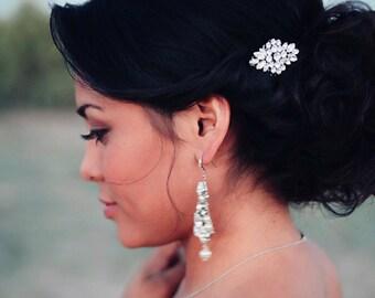 Wedding hair comb - bridal hair brooch - Swarovski crystal bridal hair comb - mini bridal comb - petite wedding comb - April comb