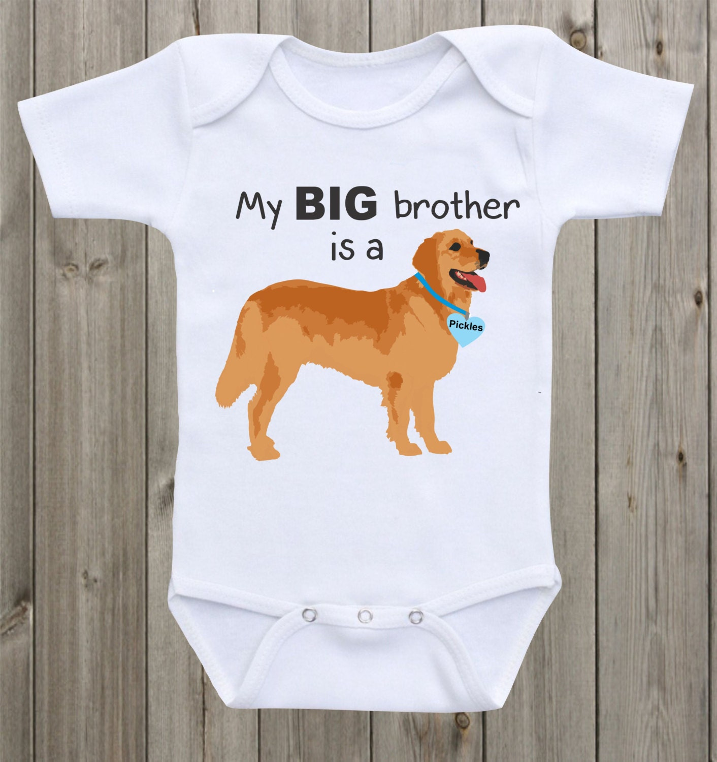 Newborn Onesie My Big Brother Is A Golden Retriever Baby