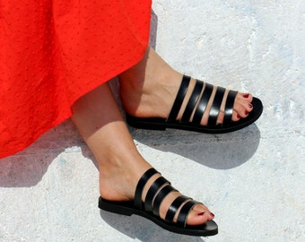 Gladiator style -Strappy leather Sandals - Black Leather Sandals - Barefoot Greek Leather Sandals Handmade