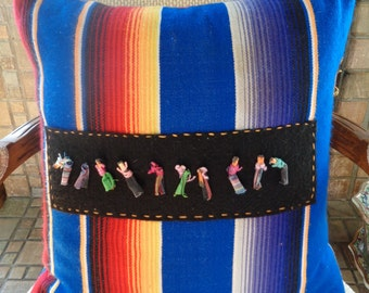 Vintage Handmade Hand-loomed Complete Down Square Pillow Worry Doll Guatemala