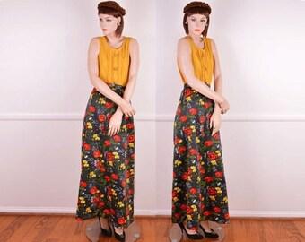 Summer Sale: 70s Black Floral Maxi Skirt