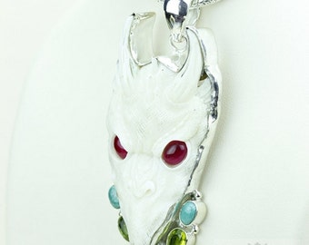 Red Eyed Celtic Dragon TOTEM Goddess Face Moon Face Bone Carving 925 S0LID Sterling Silver Pendant + 4MM Chain p3907