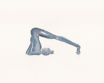 Indigo Watercolour Painting- Halasana- Plough pose - yoga pose