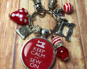 Sewing keyring, Sewing keychain, keep calm and sew on, needlecraft keyring, embroidery keyring, keyring for embroiderer