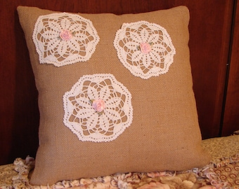 14 Inch Burlap Pillow With Doilies and Pink Rosettes,Rustic Pillow,Decorative Pillow,Burlap Pillow,Country Decor