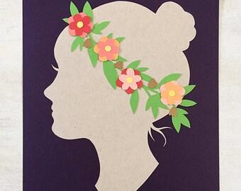 Floral Silhouette Papercut - 8x10