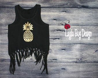 Gold foil pineapple  tank | Fringe tank | Summer top | Bathing suit cover | beach shirt | black and gold fringe tank