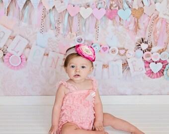Pink Lace Headband Set, First Birthday Outfit, Pink Petti Romper. Shabby flower headband, toddler girl headband