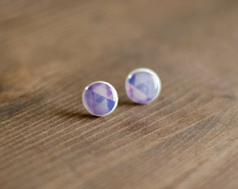 Earrings - Stud earrings - geometric pattern - Violet - Blue - Purple