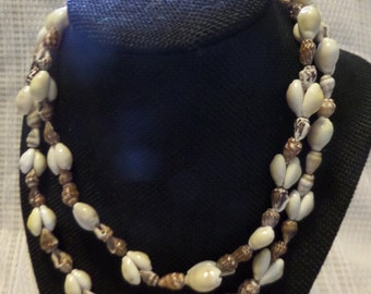 """Brown and white  shell necklace 17"""""""