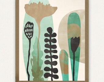 Sea Green Abstract Botanical - (8x10) Printable Art