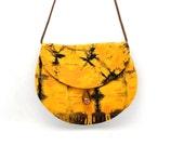 Crossbody Hip Bag, Fabric Purse, Gold and Purple Tie Dye, Made in Rwanda, Hippie Style Bag, Shoulder Bag, Crossover Purse, Ethnic Fabric Bag