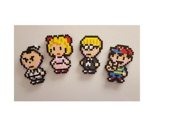 Earthbound Perler, Ness, Perler Beads, videogame magnet, keychain, snes, earth bound, super smash, jeff, poo, lucas, paula, perler bead art