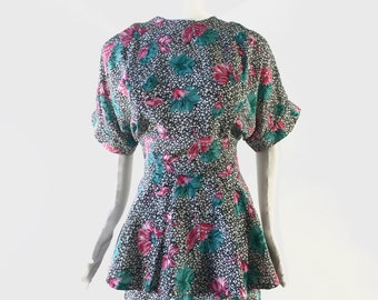 Vintage Black and White Tiered Floral Dress with Pink and Green Flowers, size 3/4