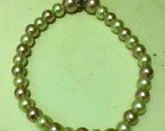 Pink & Green Beaded Bracelet