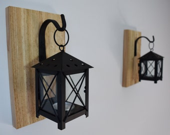 pair of wall sconces lamps lighting candle holder barnwood rustic