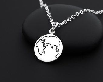Globe Necklace, World Necklace, Earth Necklace, World Map Necklace, Sterling Silver, World Traveler, Traveler Gift, Earth Jewelry