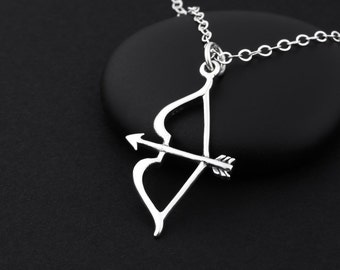 Bow and Arrow Necklace, Archery Necklace, Sterling Silver, Bow and Arrow Charm, Archery Jewelry, Bow and Arrow Jewelry, Silver Arrow Jewelry
