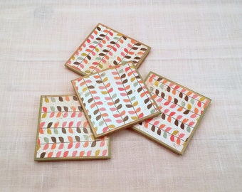 Wood Coasters for Drinks - Wooden Drink Coasters Set - Coaster Set - Drink Coasters - Coasters with Cork Back - Contemporary Decor