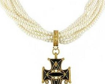Black Enamel Cross Pearl Torsade - Elizabethan Renaissance - Victorian
