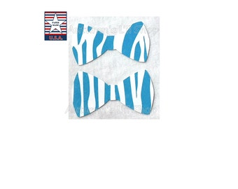 12 Blue Zebra Bowtie Zebra Stripe Paper Bow Tie Diecut Shower Bowtie Confetti Zebra Bowtie Cupcake Topper Animal Theme Birthday Boy Bowtie
