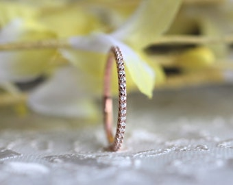 0.50 ct.tw Eternity Ring-Brilliant Cut Diamond Simulants-All Eternity Band Ring-Stacking Ring-Rose Gold Plated-Sterling Silver [50103RGE]