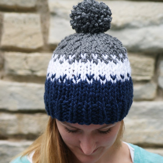 Women's Fair Isle Knit Hat Fall and Winter Neutral Pom