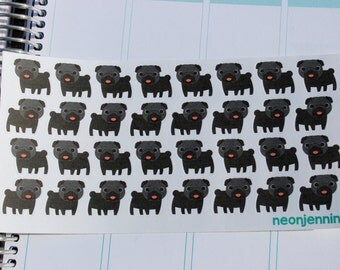 Black Pug Puppy Stickers