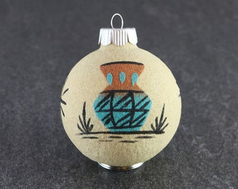 Navajo Sand Painting Ball Ornament Native American Hand Made Ornament Pottery Vase