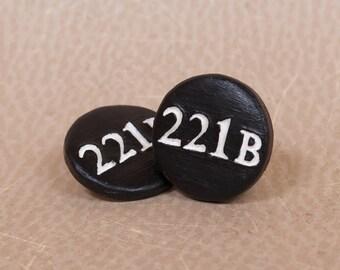 Sherlocked 221B, Sherlock Pinback Button, Sherlock Holmes Button, Baker Street Patch, 221b Baker Street, BBC Sherlock, Sherlock Fandom Pin