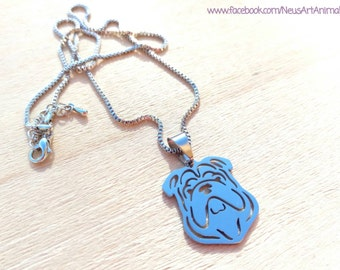 English bulldog necklace, stainless steel