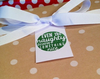 Christmas Gift Tags/Wine Tags/Hostess Gift Tags - Green and White - Set of 6