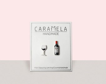 Red Wine Stud Earrings Wine Stud Earrings Glass Of Wine red wine bottle and glass wine earrings, wine studs