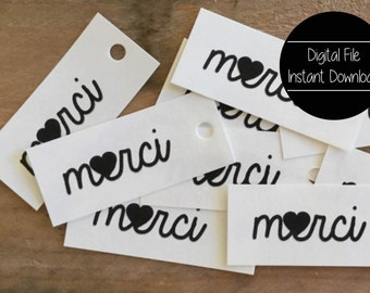 Merci Paper Tag, Wedding Tag, Thank You Gift Wrap, Paper Gift Label, Price Tag, Favor Tag, Black and White, Merci Heart, Love, Hang Tag,