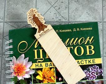 Batman Bookmark Wooden Bookmark Wood Bookmark Valentines gifts Batman Gift Ideas Batman gifts