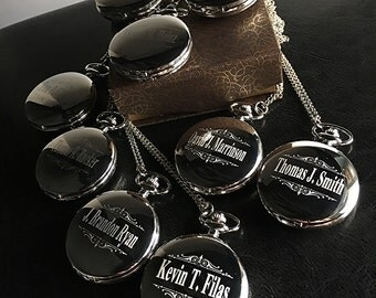 9 Groomsman gifts- Silver engraved pocket watches - 9 Silver finished pocket watches - Personalized engraved gift - Wedding gifts for him