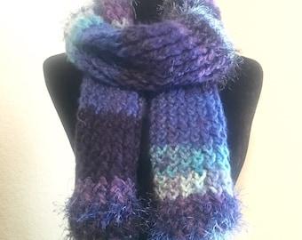 Multicolored knit scarf, warm, gift idea